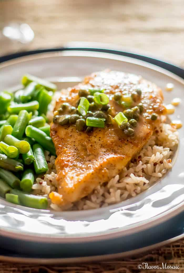 Chicken Piccata with Capers makes a quick and easy Sunday Supper.