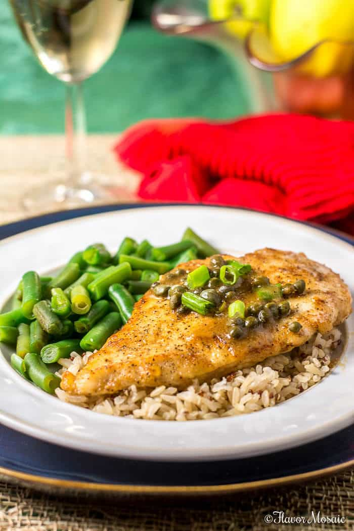 Chicken Piccata with Capers makes a quick and easy Sunday Supper - Flavor Mosaic