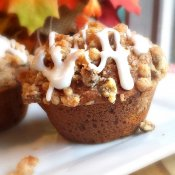 Pumpkin Streusel Muffins Drizzled with White Chocolate