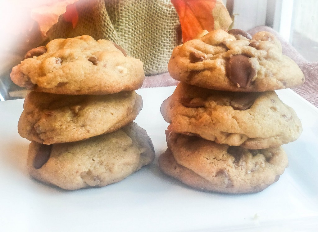 Chocolate Peanut Butter Cookies Stacked
