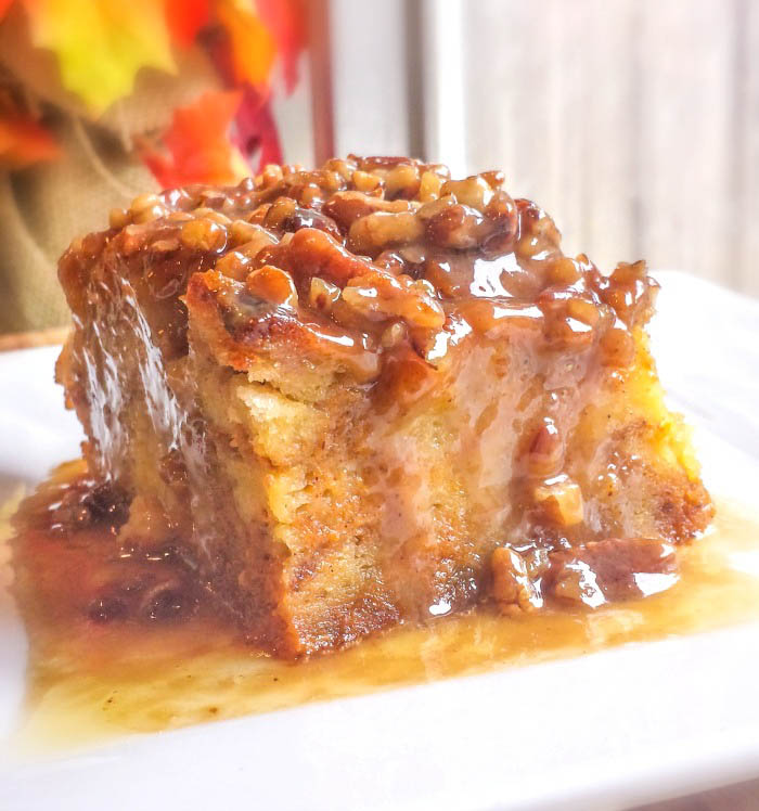 Pumpkin Praline Bread Pudding is an easy, rich, hugely popular, and impressive dessert.