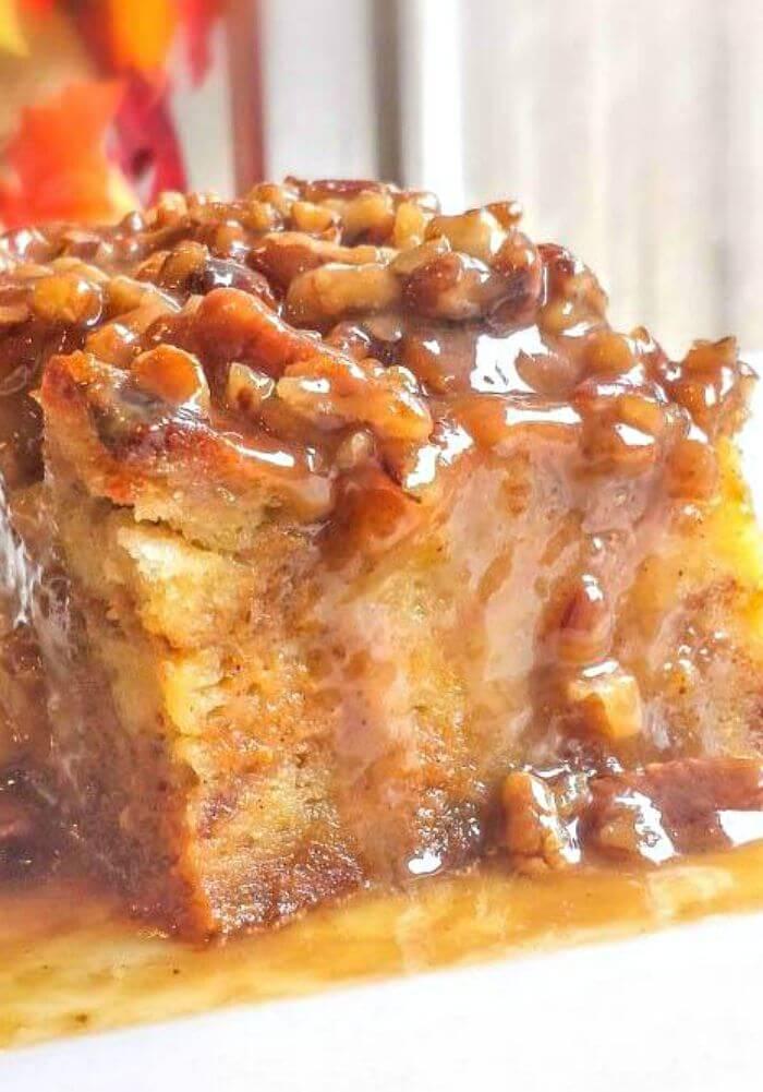 Pumpkin Praline Bread Pudding Fall Dessert
