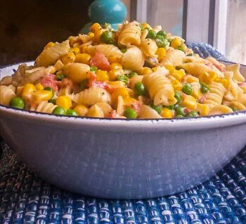 Creamy Corn Peas and Pasta