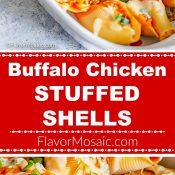Buffalo Chicken Stuffed Shells 2-Photo Red Label Long Pin