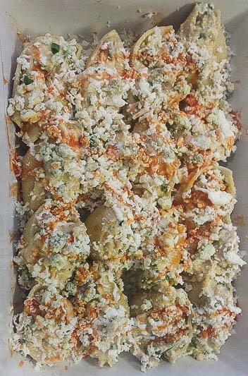 Buffalo Chicken Stuffed Shells Before Baking