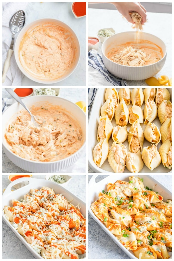 Buffalo Chicken Stuffed Shells Step By Step How To Make Process Photos Flavor Mosaic