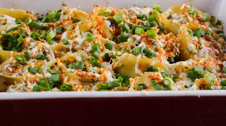 Buffalo Chicken Stuffed Shells in Casserole-2