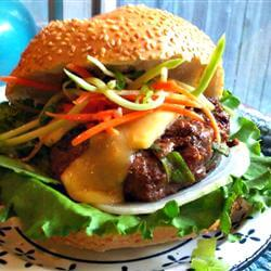 Asian BBQ Burger topped with Broccoli Slaw