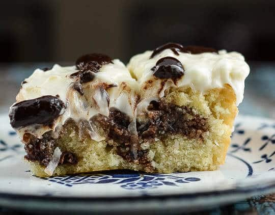Coconut Fudge Swirl Cake