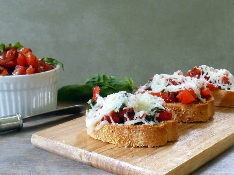 day dinner with a beautiful but easy double tomato bruschetta