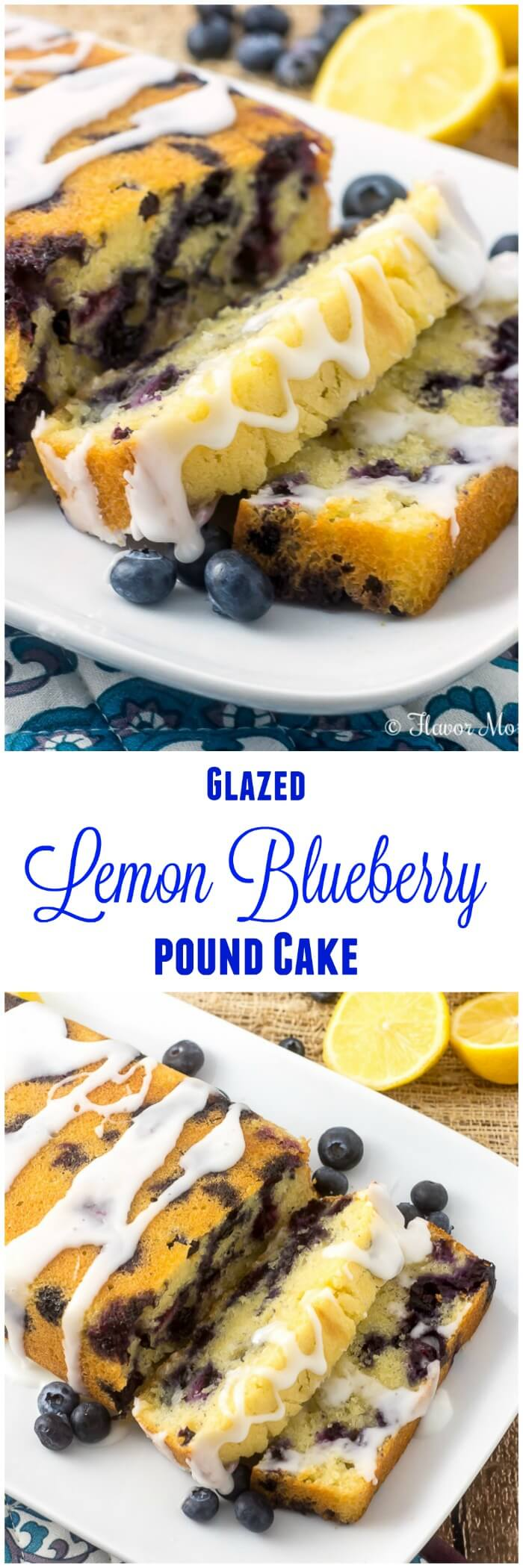 This Glazed Lemon Blueberry Pound Cake is a moist, luscious, buttery, lemon pound cake made with beautiful fresh blueberries throughout and glazed with a sweet, tangy lemon icing. It is similar to the Iced Lemon Pound Cake found at Starbucks but with the addition of fresh blueberries.