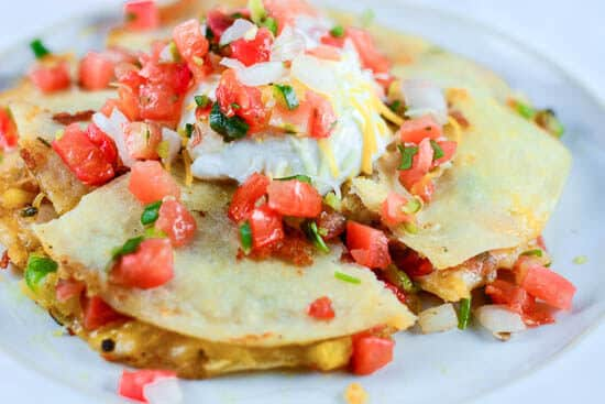 Chicken Fajita Quesadillas with Pico de Gallo Salsa - featured horizontal