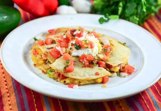 Chicken Fajita Quesadillas with Pico de Gallo Salsa - horizontal