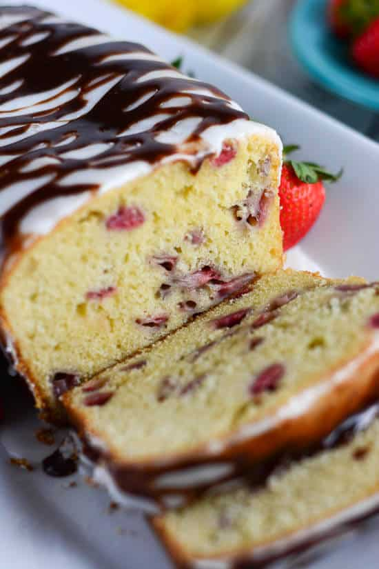 Lemon Glazed Strawberry Pound Cake with Chocolate Ganache