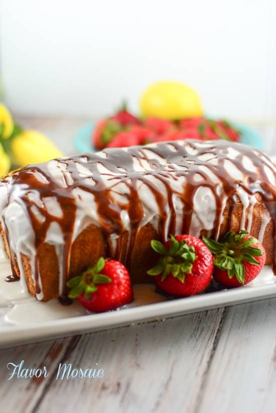 Lemon Strawberry Pound Cake with Chocolate Ganache