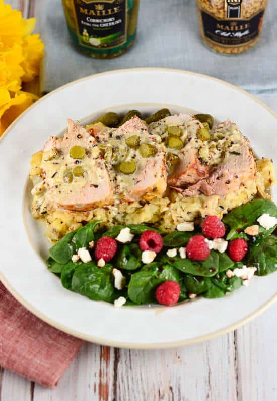 Pork-Tenderloin-with-Mustard-Cream-Sauce-and-Cornichons