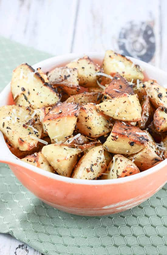 Oven Roasted Garlic Herb Parmesan Potatoes - Flavor Mosaic