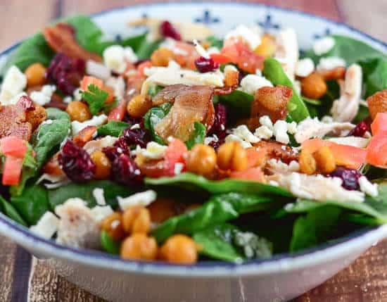 Mediterranean Chicken Bacon Spinach Salad - Flavor Mosaic