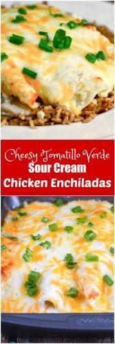 Cheesy Tomatillo Verde Sour Cream Chicken Enchiladas Image Long Pin