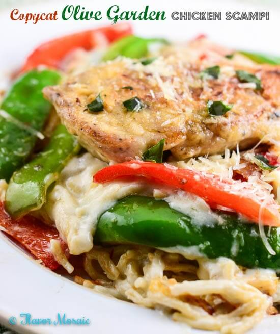 Copycat Olive Garden Chicken Scampi is my homemade copycat recipe of Olive Garden's popular Chicken Scampi dish with sautéed chicken breast, onions, and bell peppers served over pasta with a creamy garlic white sauce. Save money by making it at home.