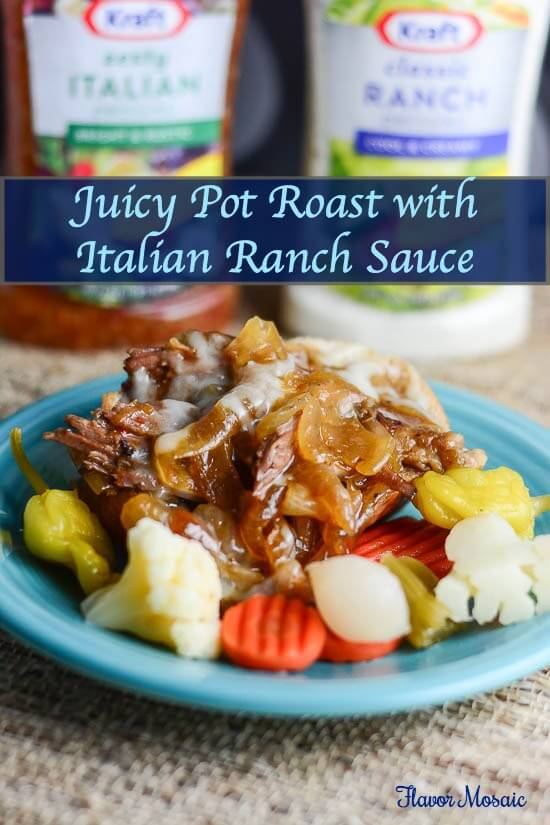 Slow Cooker Juicy Pot Roast Recipe with Italian Ranch Sauce #FoodDeservesDelicious   #shop  #cbias