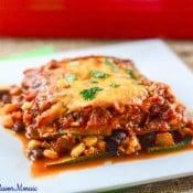 Meatless Zucchini Enchilada Sauce Casserole