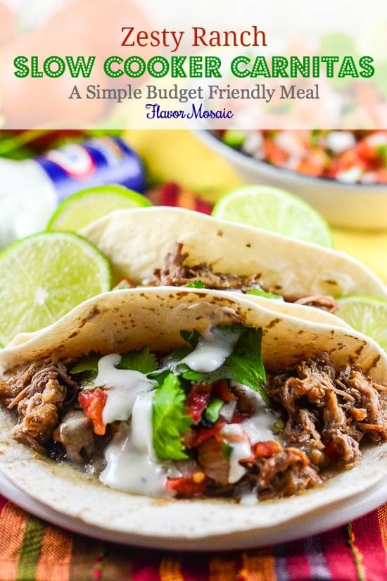 Zesty Ranch Slow Cooker Pork Carnitas - A Simple Budget Friendly Meal