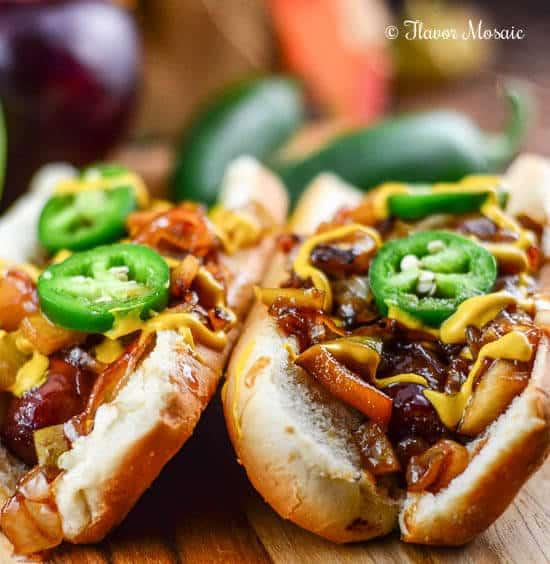 Brats with Apples and Onions