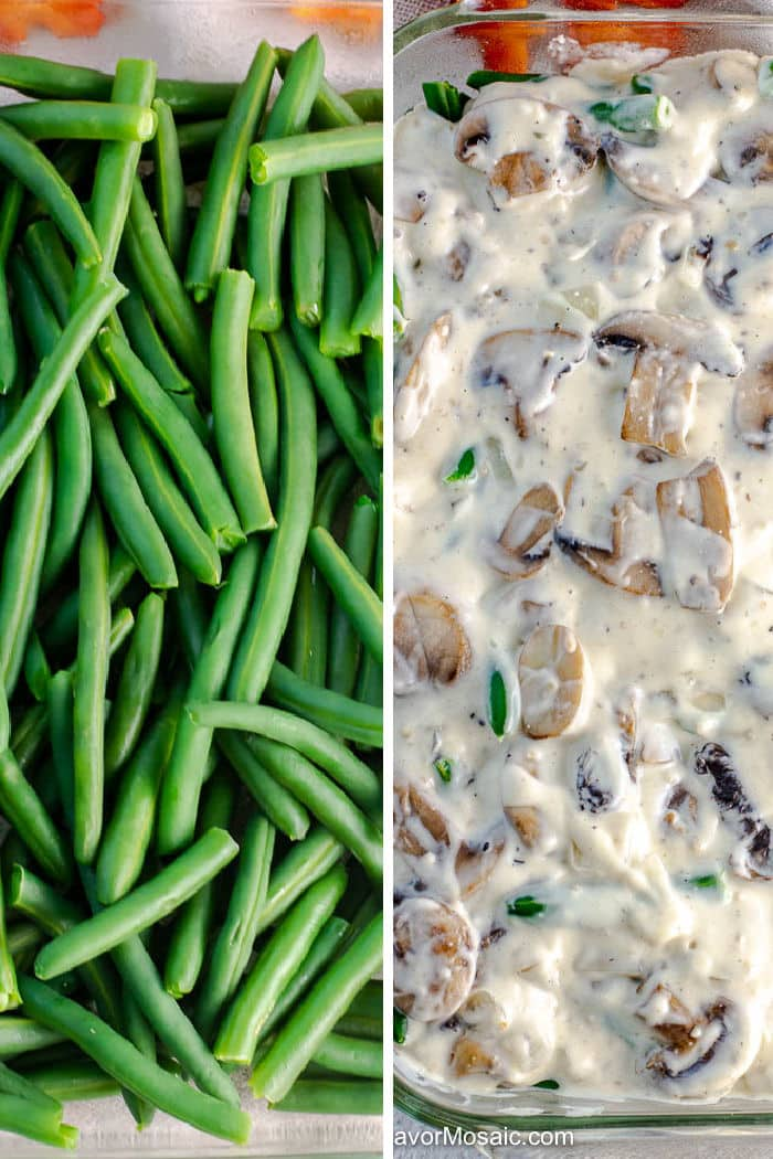 Green Bean Casserole Photo Collage of layering grean bean casserole