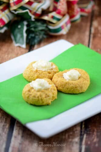 Pumpkin Eggnog Thumbprint Cookies
