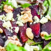 Red Wine Poached Pear Gorgonzola Salad #CleverlyPoached