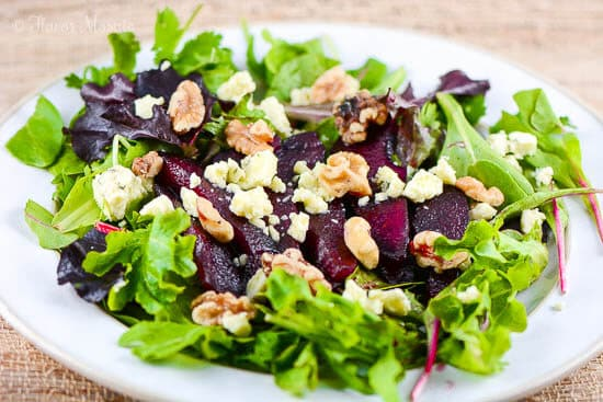Red Wine Poached Pear Gorgonzola Salad is one of the 16 Showstopping Holiday Dinner Recipes Your Guests will Love