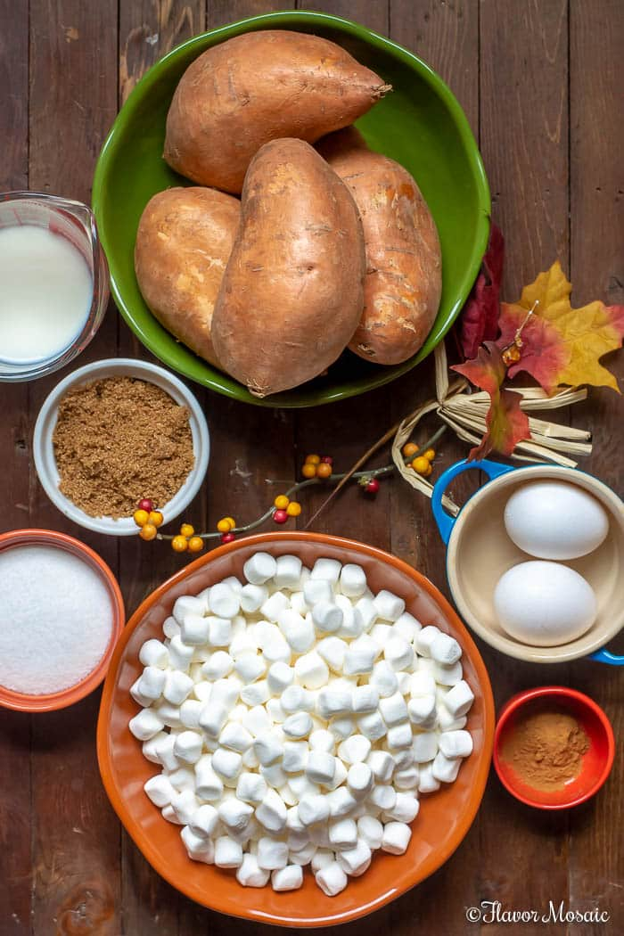 Sweet Potato Casserole with Marshmallows - overhead shot of ingredients with wood background