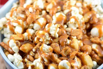 Caramel Brittle Popcorn Snack Mix