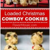 Long Pin of Loaded Christmas Cowboy Cookies with Red Label by Flavor Mosaic