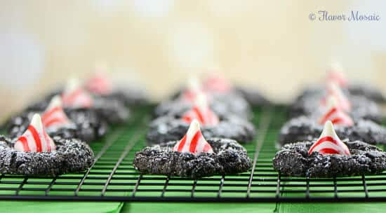 Peppermint Kiss Chocolate Crinkle Cookies
