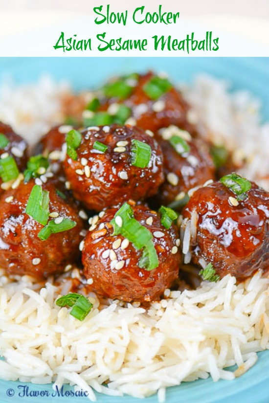 Slow Cooker Asian Sesame Meatballs by Flavor Mosaic
