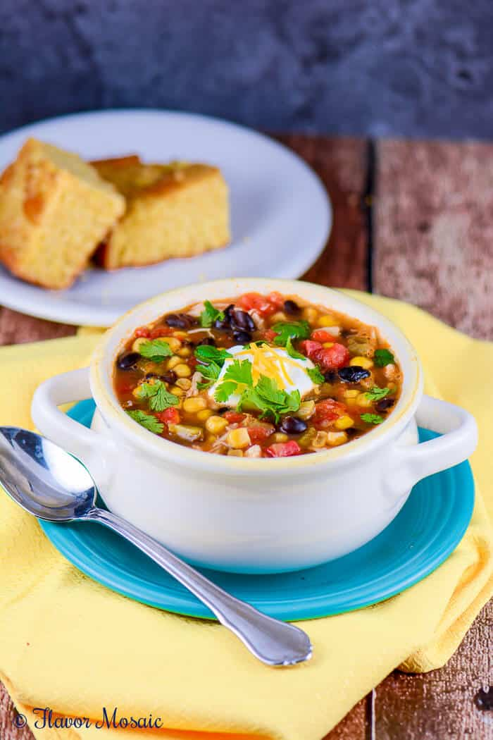 Slow Cooker Chicken Enchilada Soup is an easy, healthy, deliciously ...