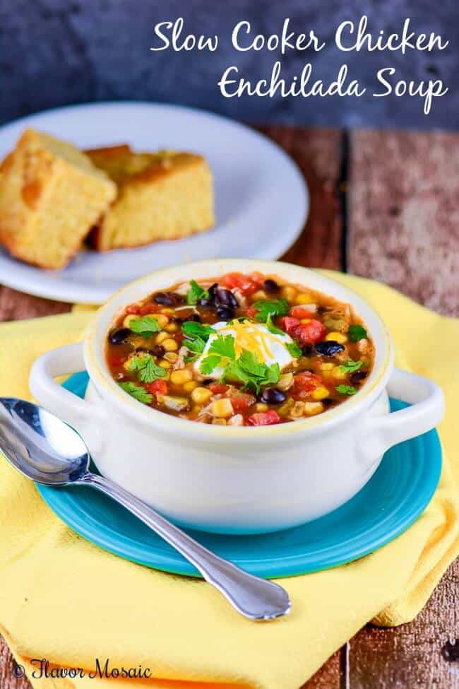 Slow Cooker Chicken Enchilada Soup is an easy, healthy, deliciously flavorful soup with a kick.