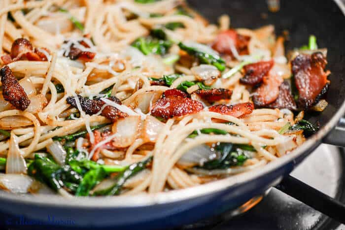 Bacon Spaghetti Florentine is a quick and easy pasta skillet dinner.