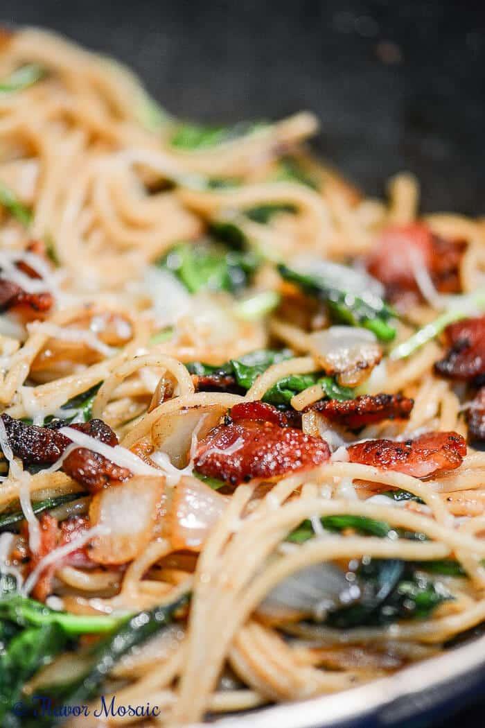 Bacon Spaghetti Florentine - Spinach Garlic Pasta
