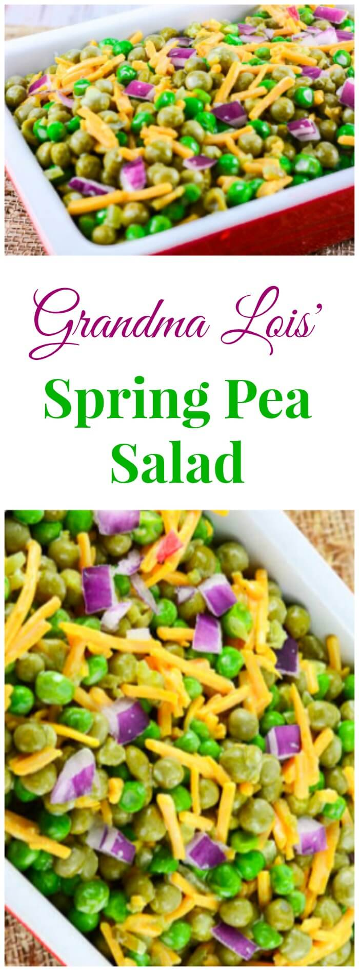 Grandma Lois' Spring Pea Salad is a perfect side dish for a family holiday dinner table for Easter or any time.