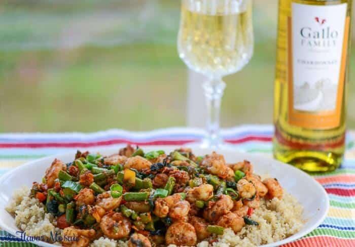 Spicy Pesto Shrimp Primavera