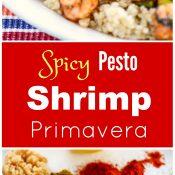 Spicy Pesto Shrimp Primavera makes a fast, quick and easy healthy dinner!
