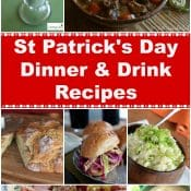 St Patrick's Day Dinner and Drink Recipes Long Pin Collage Photo Red Label Flavor Mosaic