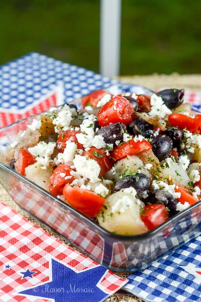 Greek Potato Salad Mediterranean Recipe that is great for a picnic