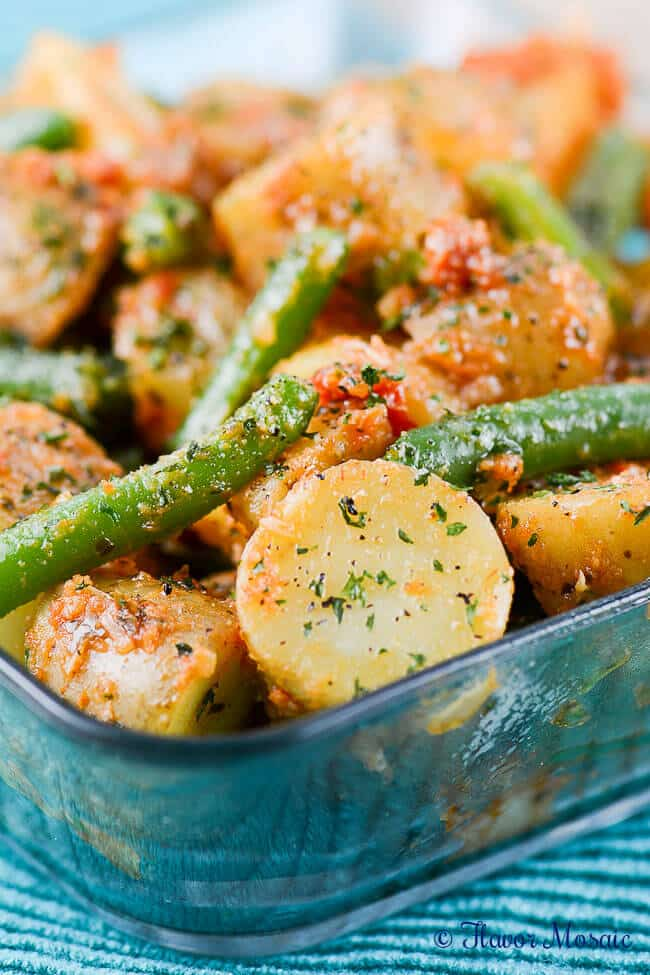 Amazing 5-ingredient, gluten-free Green Bean Potato Salad with Sun-Dried Tomato Pesto is perfect for a picnic side dish.
