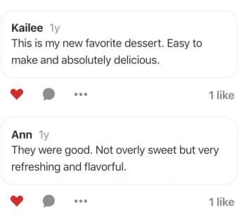 Screen Shot of Pinterest comments on Flavor Mosaic Strawberry Crumb Bars pin