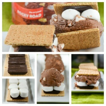 S'mores Ice Cream Sandwich with marshmallows Collage