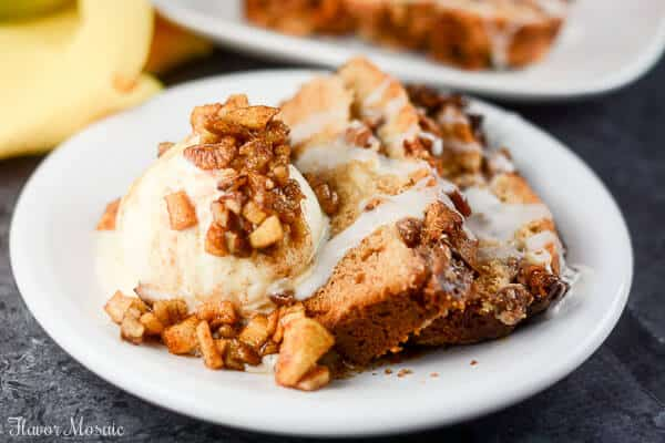 This Apple Pecan Cream Cheese Cake made with fresh apples and topped with a vanilla glaze, is a delicious fall dessert your guests will love.